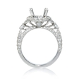 .91ct Diamond Antique Style 18k White Gold Halo Engagement Ring Setting