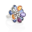 1.42ct Diamond and Multi-Colored Sapphire 18k White Gold Floral Ring