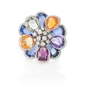Diamond and Multi-Colored Sapphire 18k White Gold Floral Ring