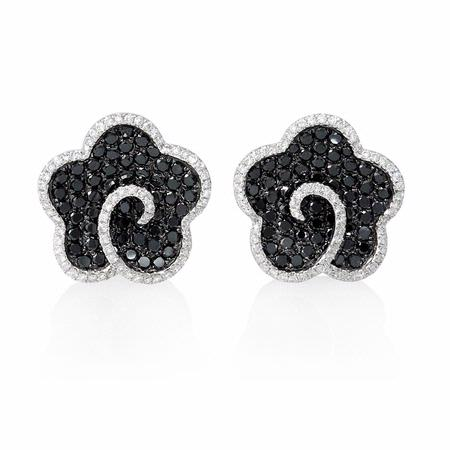 .50ct Diamond 18k White Gold and Black Rhodium Cluster Earrings