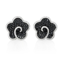 Diamond 18k White Gold and Black Rhodium Cluster Earrings