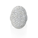 Diamond Round Brilliant Cut Pave 18k White Gold Ring