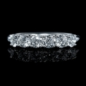 Diamond 18k White Gold Six Stone U Prong Wedding Band Ring
