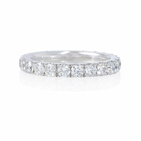 Diamond 1.45 Carats Round Brilliant Cut Platinum Eternity Wedding Band Ring
