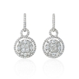 3.08ct Diamond 18k White Gold Dangle Earrings