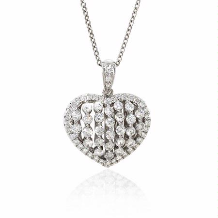 Diamond 18k White Gold Heart Pendant