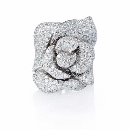 Diamond 18k White Gold Floral Ring