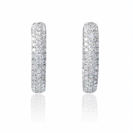 Diamond 18k White Gold Hoop Earrings