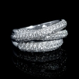 1.43ct Diamond 18k White Gold Three Row Crossover Ring