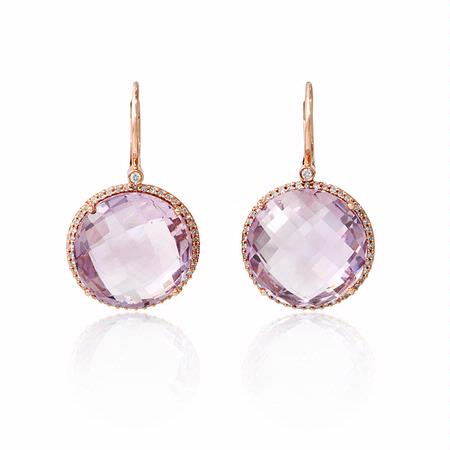 32ct Diamond And Pink Amethyst 14k Rose Gold Dangle Earrings