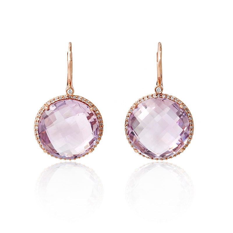 32ct diamond and pink amethyst 14k rose gold dangle earrings. Black Bedroom Furniture Sets. Home Design Ideas