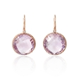 .32ct Diamond and Pink Amethyst 14k Rose Gold Dangle Earrings