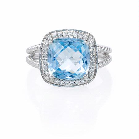 Diamond and Blue Topaz 14k White Gold Ring