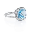 .12ct Diamond and Blue Topaz 14k White Gold Ring