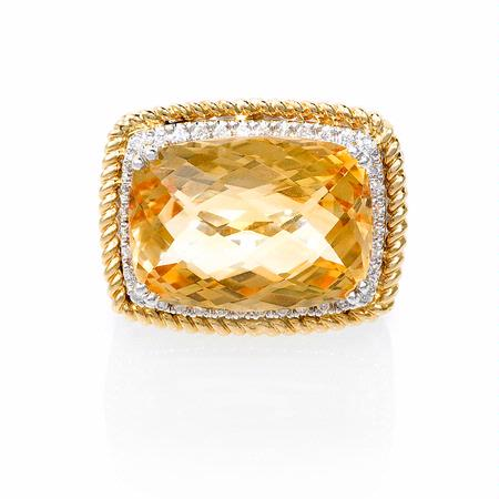 Diamond and Citrine 14k Two Tone Gold Ring
