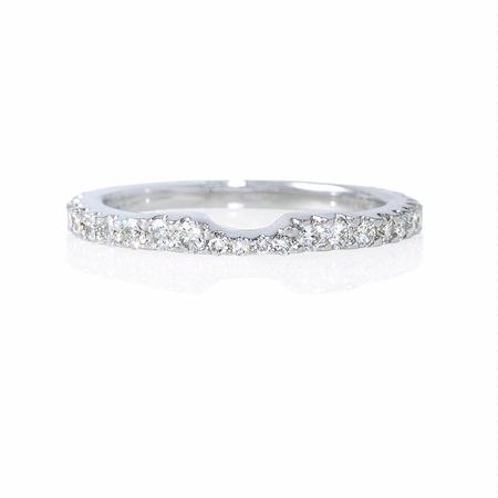 Diamond 18k White Gold Eternity Wedding Band Ring Guard