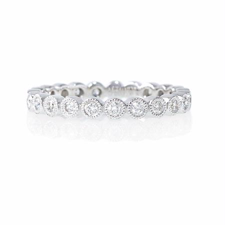 Diamond Antique 18k White Gold Eternity Ring