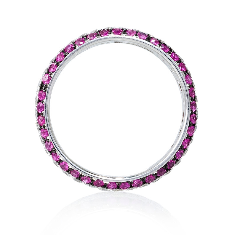 .56ct Diamond and Pink Sapphire 18k White Gold Eternity ...