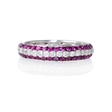 .56ct Diamond and Pink Sapphire 18k White Gold Eternity Wedding Band Ring