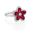 .43ct Diamond and Ruby 18k White Gold Flower Ring