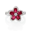 Diamond and Ruby 18k White Gold Flower Ring