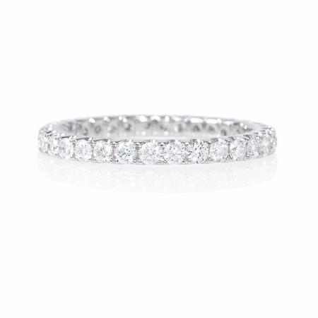 Diamond Round Brilliant Cut 18k White Gold Eternity U Prong Wedding Band Ring