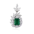 1.05ct Diamond and Emerald 18k White Gold Pendant