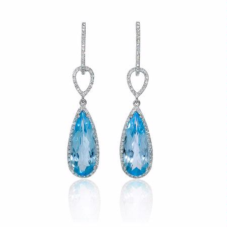 Diamond 14k White Gold and Blue Topaz Dangle Earrings