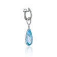 .42ct Diamond 14k White Gold and Blue Topaz Dangle Earrings