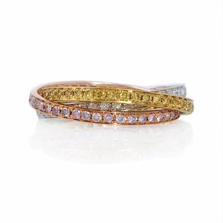 Diamond 18k Three Tone Gold Ring