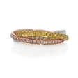 1.08ct Diamond 18k Three Tone Gold Ring