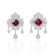 1.20ct Diamond 18k White Gold and Pink Tourmaline Dangle Earrings