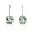 Diamond and Green Amethyst 14k White Gold Dangle Earrings