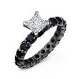 Diamond 14k Gold and Black Rhodium Eternity Engagement Ring Setting