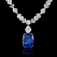 15.02ct Diamond and Blue Sapphire Platinum Necklace