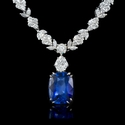 Diamond and Blue Sapphire Platinum Necklace