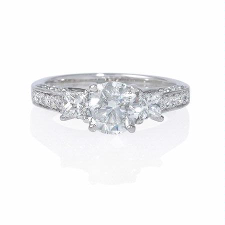 .57ct Diamond Antique Style 18k White Gold Engagement Ring Setting