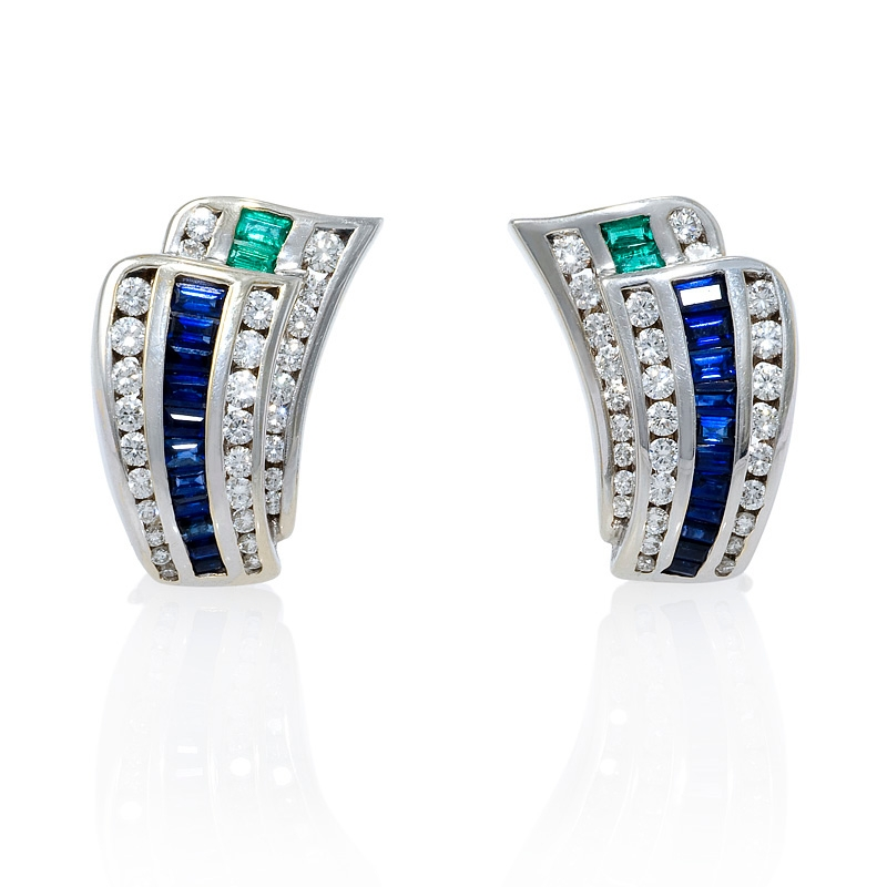 73ct Charles Krypell Diamond Emerald & Blue Sapphire 18k White