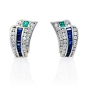 Charles Krypell Diamond Emerald & Blue Sapphire 18k White Gold Earrings