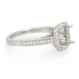 .58ct Diamond Antique Style 18k White Gold Halo Engagement Ring Setting