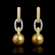 3.22ct Diamond and South Sea Pearl 18k Two Tone Gold Dangle Earrings