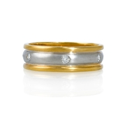 Men's Diamond Platinum 18k Yellow Gold Wedding Band Ring
