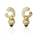Diamond and Sapphire 18k Yellow Gold Dangle Earrings