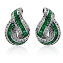 Charles Krypell Diamond & Emerald 18k White Gold Earrings