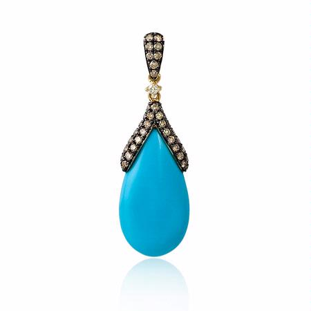 Diamond and Turquoise 14k Yellow Gold Pendant