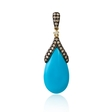.44ct Diamond and Turquoise 14k Yellow Gold Pendant