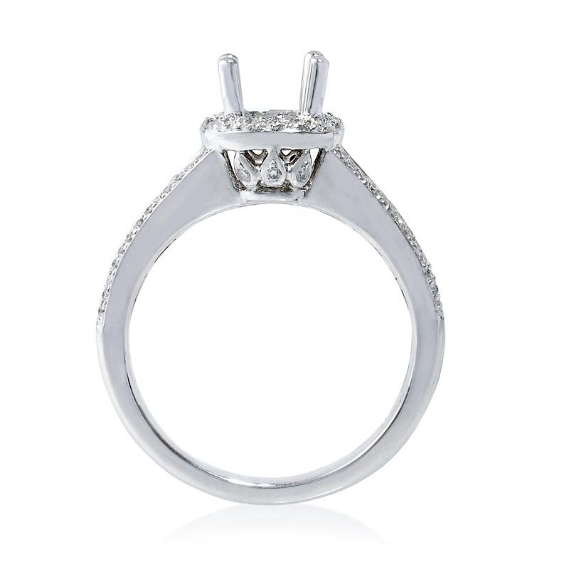 65ct Diamond Platinum Halo Engagement Ring Setting