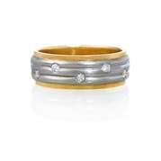 Diamond Platinum and 18k Yellow Gold Ring