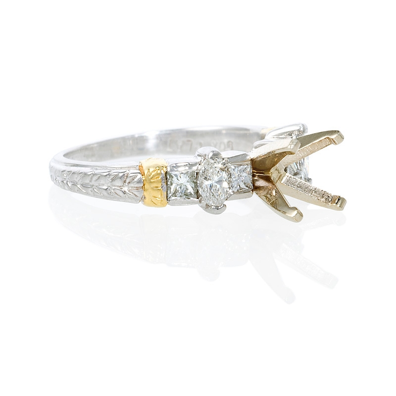 65ct antique style platinum and 18k yellow gold