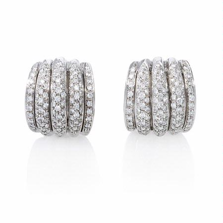 Garavelli Diamond 18k White Gold Cluster Earrings